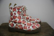 Dr. Martens White Pink Rose Floral Lace Up Combat Ankle Boots Women's Vintage 10