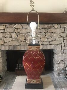 Vintage ROYAL Ceramic Vase Red&Gold 31-inch High 3-Way Table Lamp