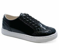 WOMENS BLACK PATENT LACE-UP TRAINERS PLIMSOLLS PUMPS CASUAL SHOES SIZES 3-8