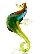 "Green Blue Sea Horse Figurine Blown Glass ""Murano"" Art Animal Miniature"