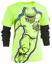 Under Armour Toddler Boys Football-Print Layered-Look T-Shirt Hi Vis Yellow 2T