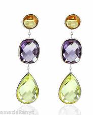14K White Gold Gemstone Earrings With Citrine, Lemon Topaz and Amethyst