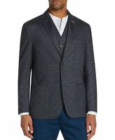 Tallia Mens Suit Seperates Blue Size Large L Blazer Knit Check Print $198 359