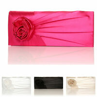 NEW FLOWER SATIN BRIDAL WEDDING CLUTCH BAG EVENT OCCASIONS PARTY COLOURS FLORAL