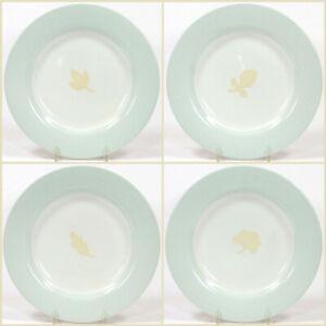"Michael Graves OAK LEAF 8.25"" Dessert Salad Plate Set 4Pc Green Rim Tan Leaf"