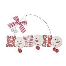 Wooden Hanging Christmas Xmas Tree Decorations Santa Snowman Reindeer 3pc HO HO HO Xs4533