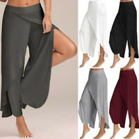 Women's Wide Leg Pants Mid Waist Casual Yoga Pants Casual Solid Loose Plus Size