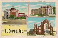 Three Churches in El Dorado AR Postcard