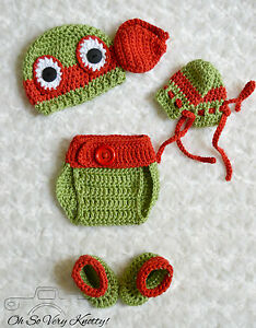 Handmade TMNT Inspired Ninja Turtles Raphael Red Crochet Baby 6 Piece Set