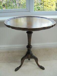 """Vintage """"Maple"""" label lamp wine table, carved tripod feet, burr walnut veneer"""