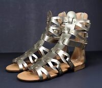 atta-1 Flats Zipper Buckle Sandals Gladiator Casual Party Women's Shoes Gold