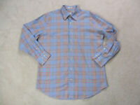 Peter Millar Button Up Shirt Adult Large Blue Red Plaid Long Sleeve Casual Mens