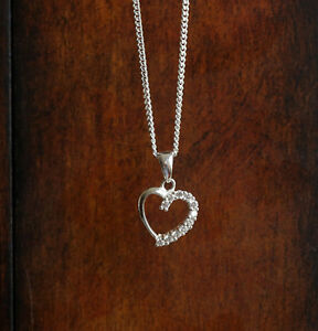 925 sterling silver Heart pendant necklace with Cubic zirconia stones