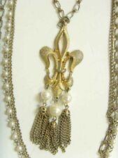 1950s vintage Fleure de lis heraldic insignia Emblem necklace renaissance 49821
