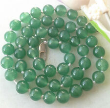 Hot AAA Natural 8mm round green Gemstone Necklace 18''