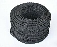 10 Meters Vintage Braided Cable 3 core Black Antique Twisted Woven Silk Lighting