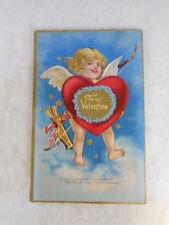 Vintage Embossed Valentine Postcard To My Valentine Cherub Cupid