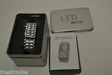 LED WRIST WATCH WHOLESALE **LOT OF 8** WATCHES SILVER METAL BRACELET