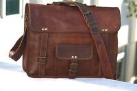 Men Retro Leather Handmade Briefcase 11' Laptop Document Messenger Shoulder Bag