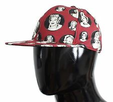 NWT $300 DOLCE & GABBANA Red Marilyn Monroe Cotton Silk Cap Hat Mens s. 58 / M