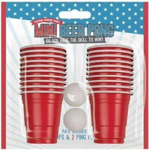 Mini Beer Pong Set Party Drinking Game Red Cup Adult Toy Beerpong 20Cups 2Balls