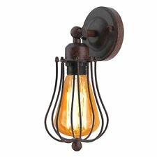 Modern Retro Vintage Industrial Wall Mounted Light Rustic Sconce Lamp Fixture UK Copper Cage