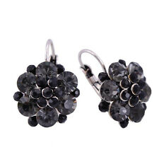 Lovely Vintage Style Sparkling BLACK Flower White Gold Plated Earrings Jewelry