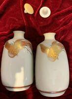 Pair Antique/Vintage Japanese Handpainted Porcelain Saki Sake bottles  Satsuma?