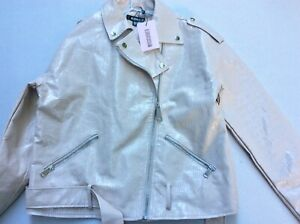 WOMEN'S MISSGUIDED STONE CROC EFFECT FAUX LEATHER BELTED JACKET SIZE 10 BNWT