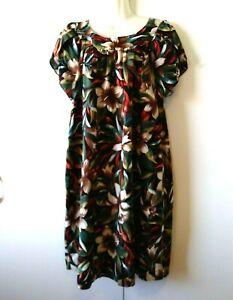HILO HATTIE Hawaiian Set Vintage 1960s Blue Floral Cotton Sleeveless Maxi Dress Button Down Short Sleeve Shirt