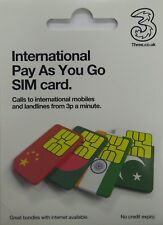 Three (3) International PAYG  SIM Card - Includes Standard, Micro & Nano