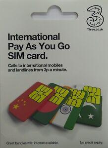 2 x Three (3) International PAYG  SIM Card - Includes Standard, Micro & Nano