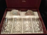 NWT Box Set of Four Gorham Lady Anne Crystal Highball Glasses w Silver Coasters