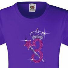 """Girl's Birthday TShirt """"3 with crown & wand"""" Rhinestone Embellished-Many Colours"""
