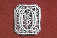 Oblong letter//initial D sew-on lace motif//applique//patch//craft//card making