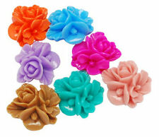 20 x Cabochon Resin Flowers 10 Pairs 5 Colours Retro Style Flatback Posy Posy