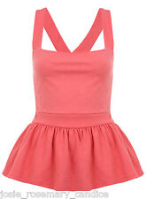 Miss Selfridge Rose Texture Pinny Top 10 38 Pink Peplum Strappy Summer New