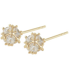 Shiny 9K Solid Gold Filled Cubic Zirconia Megic Ball Stud Earrings,Z2909