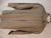 Ermenegildo Zegna Mens Beige Stripe Long Sleeve Cotton Shirt 3XB Italy Made