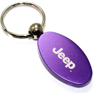Purple Aluminum Metal Oval Jeep Logo Key Chain Fob Chrome Ring