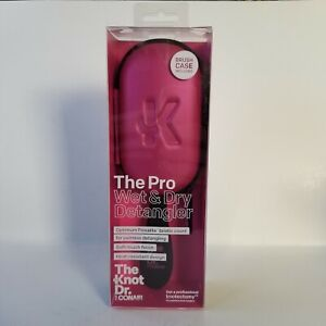 Conair The Knot Dr Pro Wet Dry Detangler Brush With Case Pink Heat Resistant