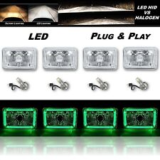 "4X6"" Green LED Halo Angel Eye Crystal Clear Headlight w/ 6K LED Light Bulb Set"