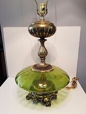 """Vintage Murano Style Mid-Century Green Bubble Glass Brass 37""""  Lamp"""