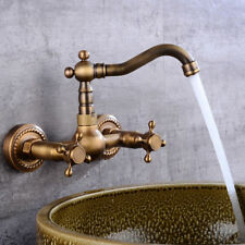 Antique Brass Kitchen&Bathroom Sink Faucet Dual Handle Mixer Tap Wall Mounted