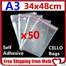 50x A3 Cello Bag 34x48cm Cellophane Clear Resealable Plastic Self Seal Adhesive