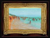 "ORIGINAL Oil Painting Handmade Arseni ~ SEA 6"" X 4"" NO FRAME Artist Art"