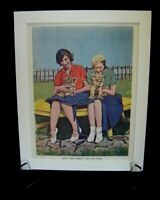 Vintage 1940's Retro Art Bookplate Print in Mount ~ Girls Holding Lion Cubs!