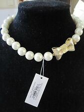 NWT  Kate Spade All Wrapped Up Faux Pearl Short Necklace with Gold Tone Bow