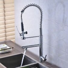 Chrome Pull Down Spray Kitchen Sink Faucet Swivel Spout Dual Handle Mixer Tap