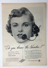 Original Print Ad 1952 BELL TELEPHONE SYSTEM Operator Do You Know the Number?